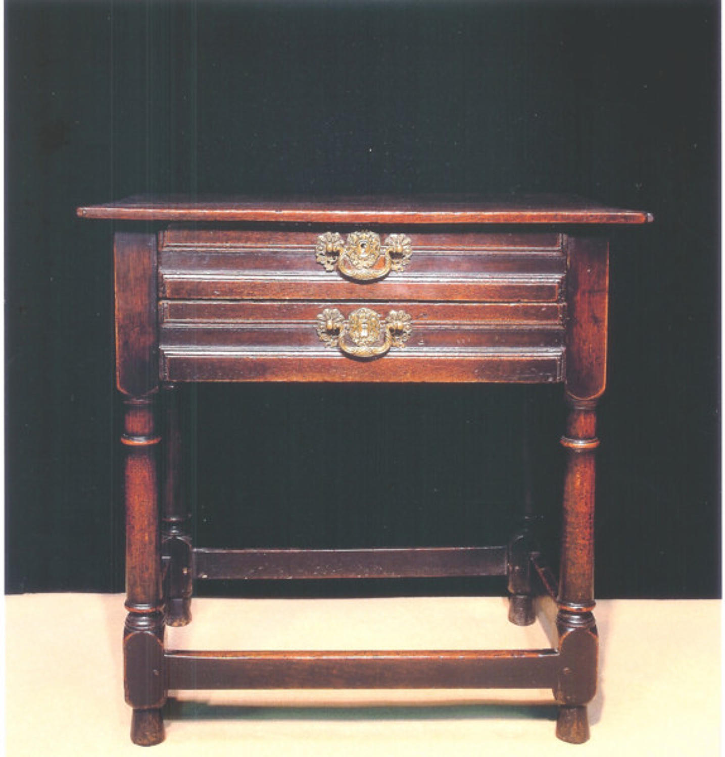 17thc Oak Two Draw Side Table .  English, c. 1670 to c. 1680