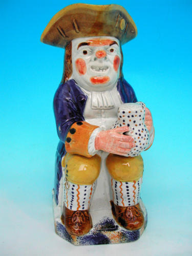 19thc Prattware Toby Jug. English. C1800 - 10
