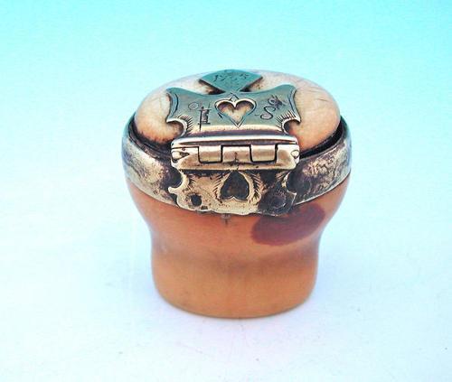18thc Marine Ivory Brass Dated Snuff Mull . Scottish  C1730-35
