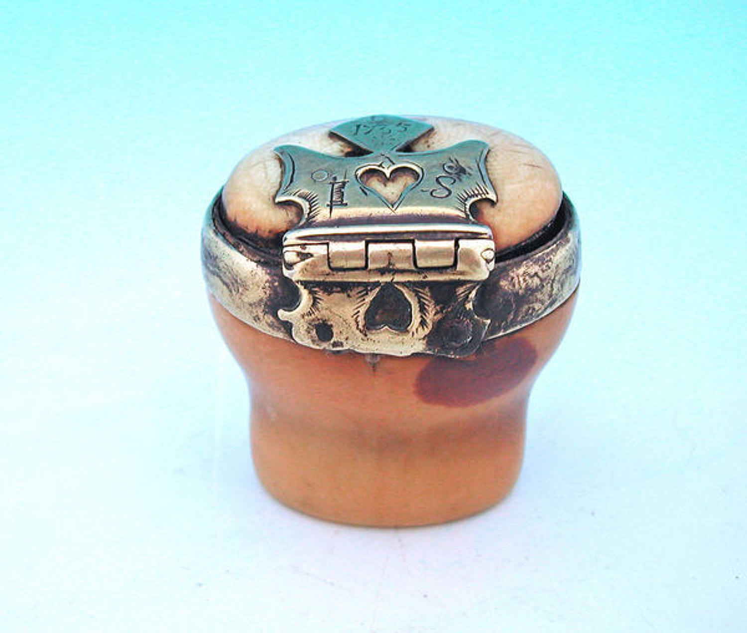 18thc Marine Ivory Brass Dated Snuff Mull . Scottish  C1730-35