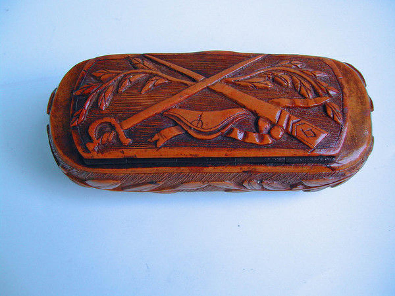19thc Antique Boxwood Snuff Box . French. C1840-60