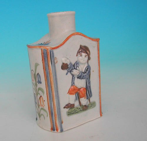 19thc English Prattware Pottery Tea-Caddy .  English. C1805-C1810