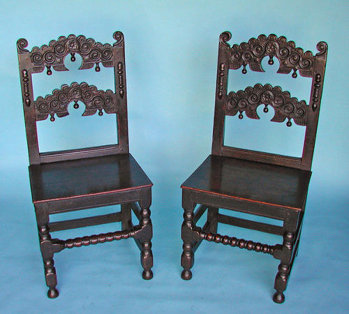 A pair of Antique 17thc Oak Derbyshire Chairs. English. C1660-80