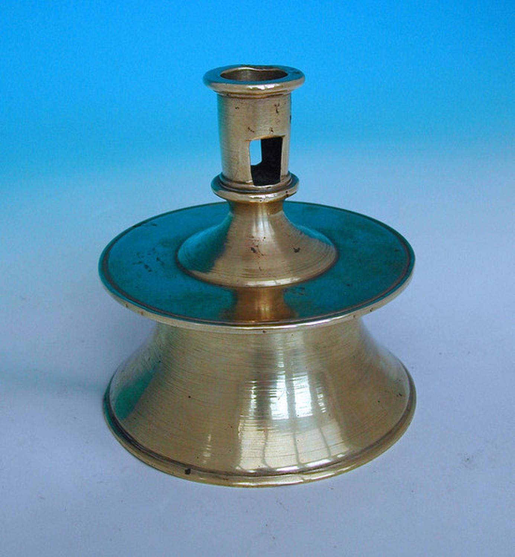 16thc Brass Capstan Candlestick.     N.European. C1560-80.