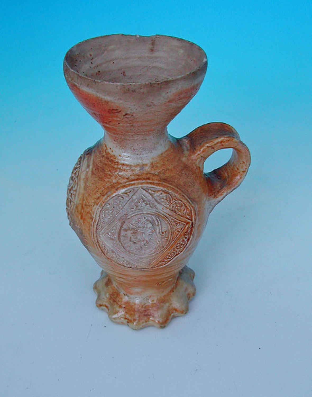 16thc Stoneware Siegberg Funnel Necked Drinking Jug. German. C1540-50