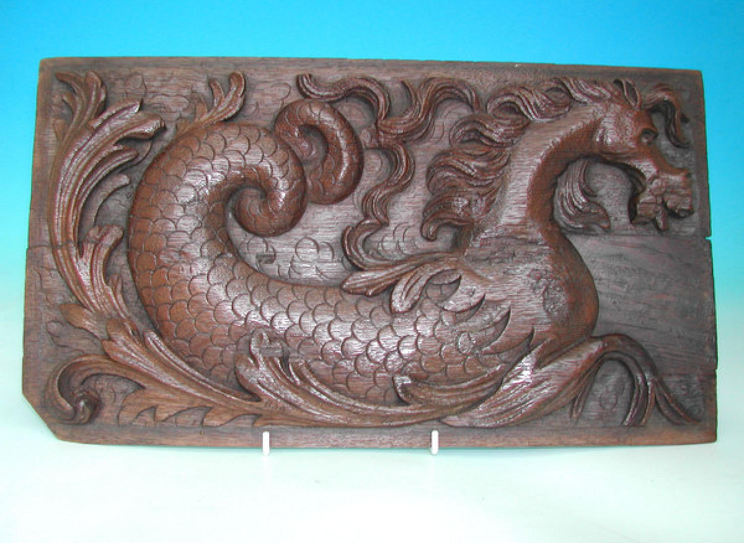 17thc carved panel of a Hippocampus. Flemish.C1660-80