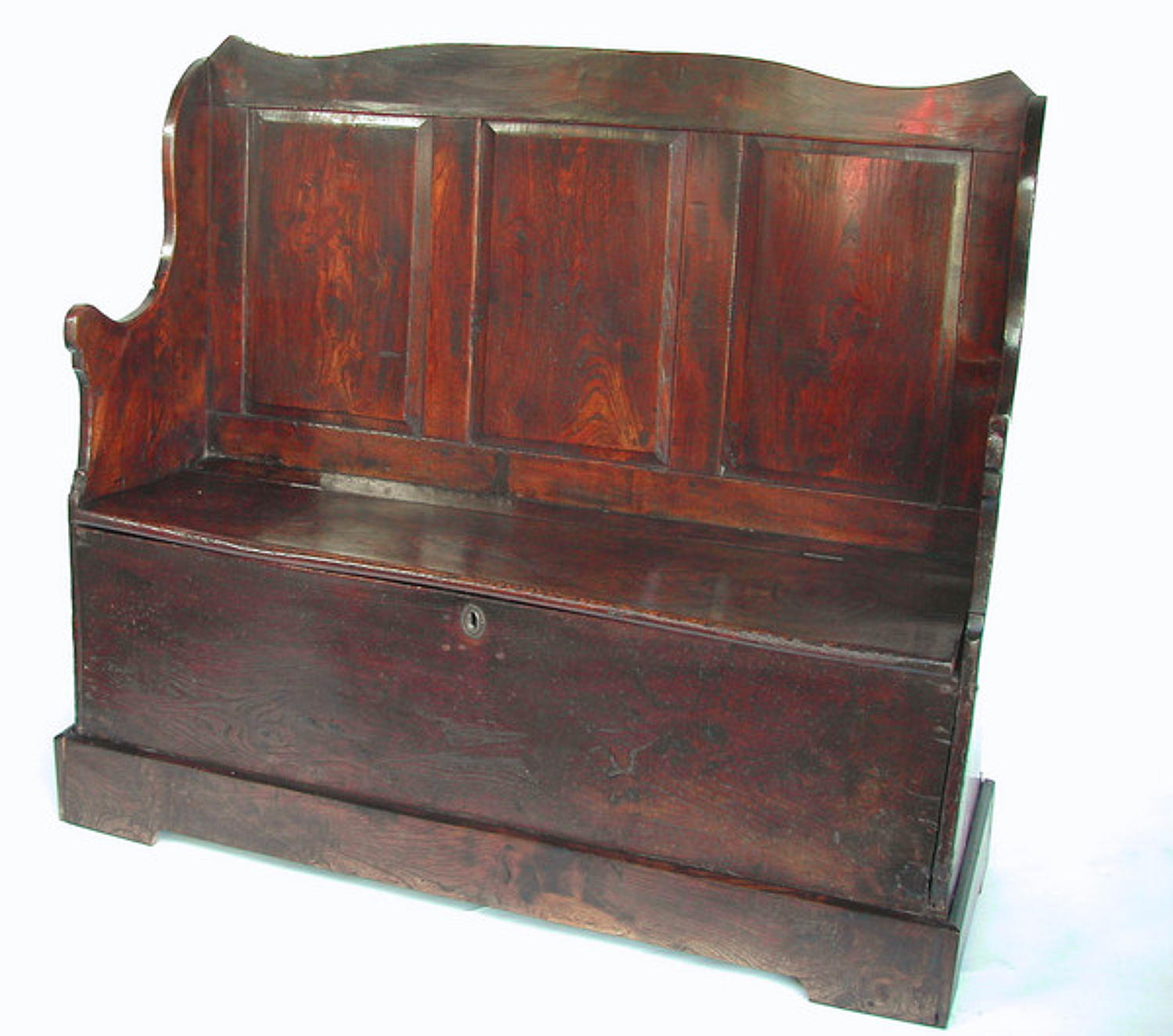 18thc Elm Box Settle . Welsh. C1740-60