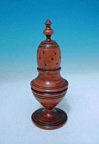 18thc Treen Fruitwood Muffineer .  English. C1780-C1800