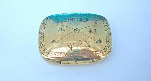 19thc dated Brass Tobacco Box .  English. C1860-80.