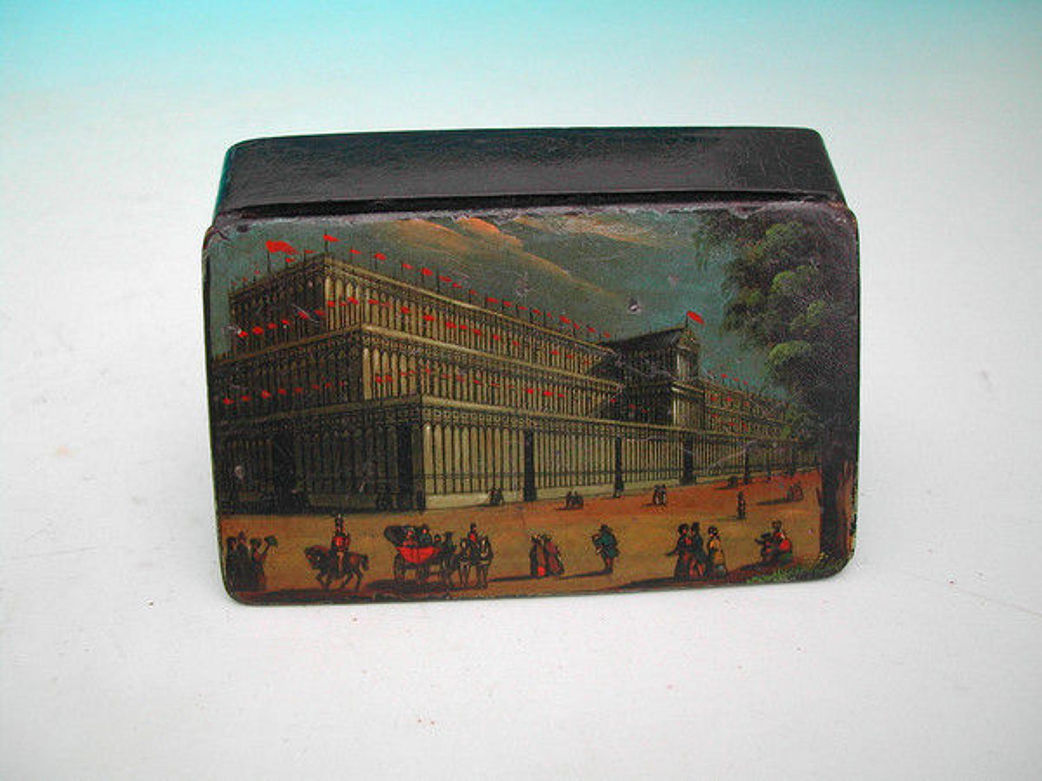 19thc Hand Painted Crystal Palace Snuff Box . English. C1850-60