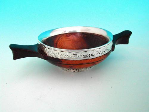 19thc Lignum Vitae and Silver rimmed Quaich. Scottish. C1830-40.