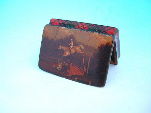 19thc Mauchline Tartan Painted Snuff Box .  Scottish. C1820-40.