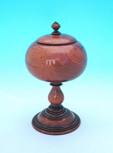 19thc Oak Lidded Spice Pot . English. C1820-40.
