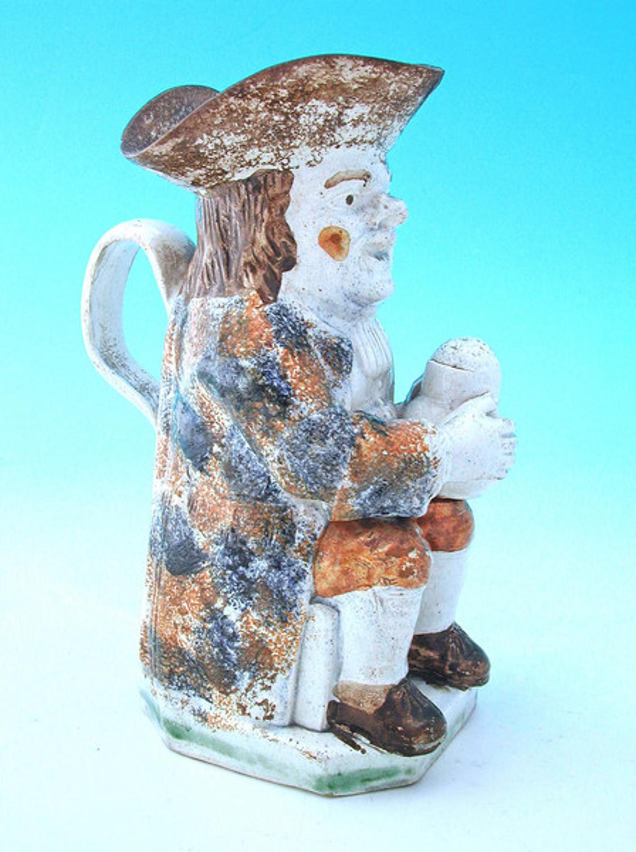 19thc Pottery Prattware Toby Jug .  English. C1800-20