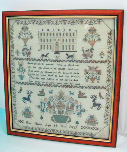 19thc  English Sampler dated 1849.