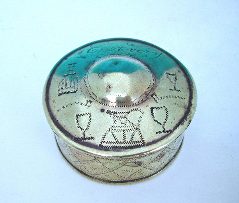19thc Brass Snuff Box.  English. C1820-40.