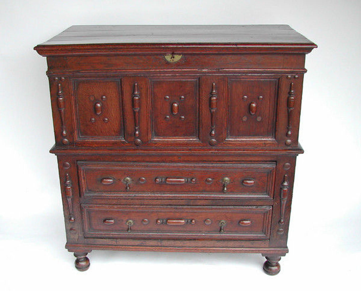 Oak 17thc Box Top Chest with Drawers .    English.    C1660-80.