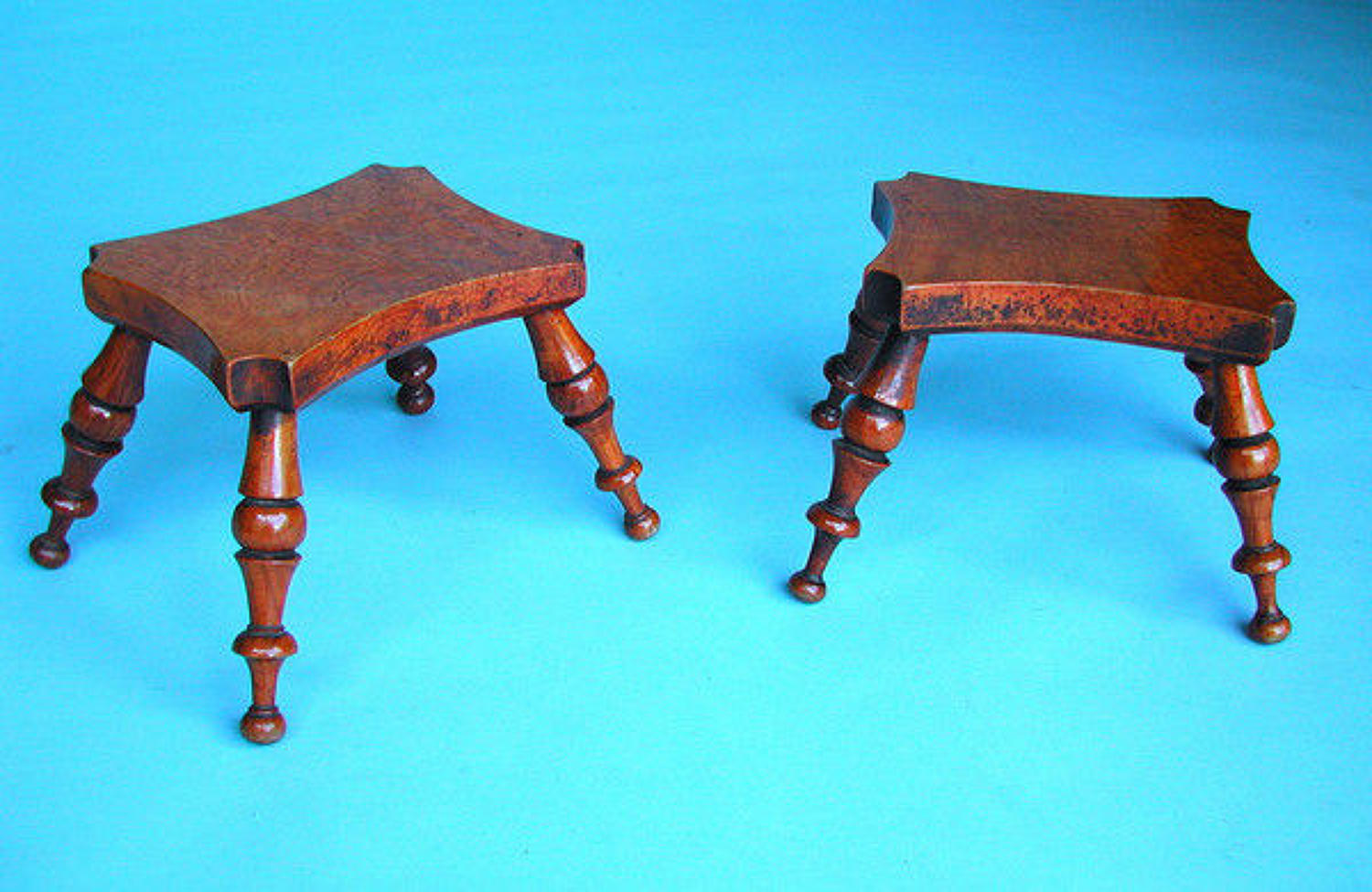 Pair of 19thc Antique Burr Ash Candlestands .  English. C1840-60.