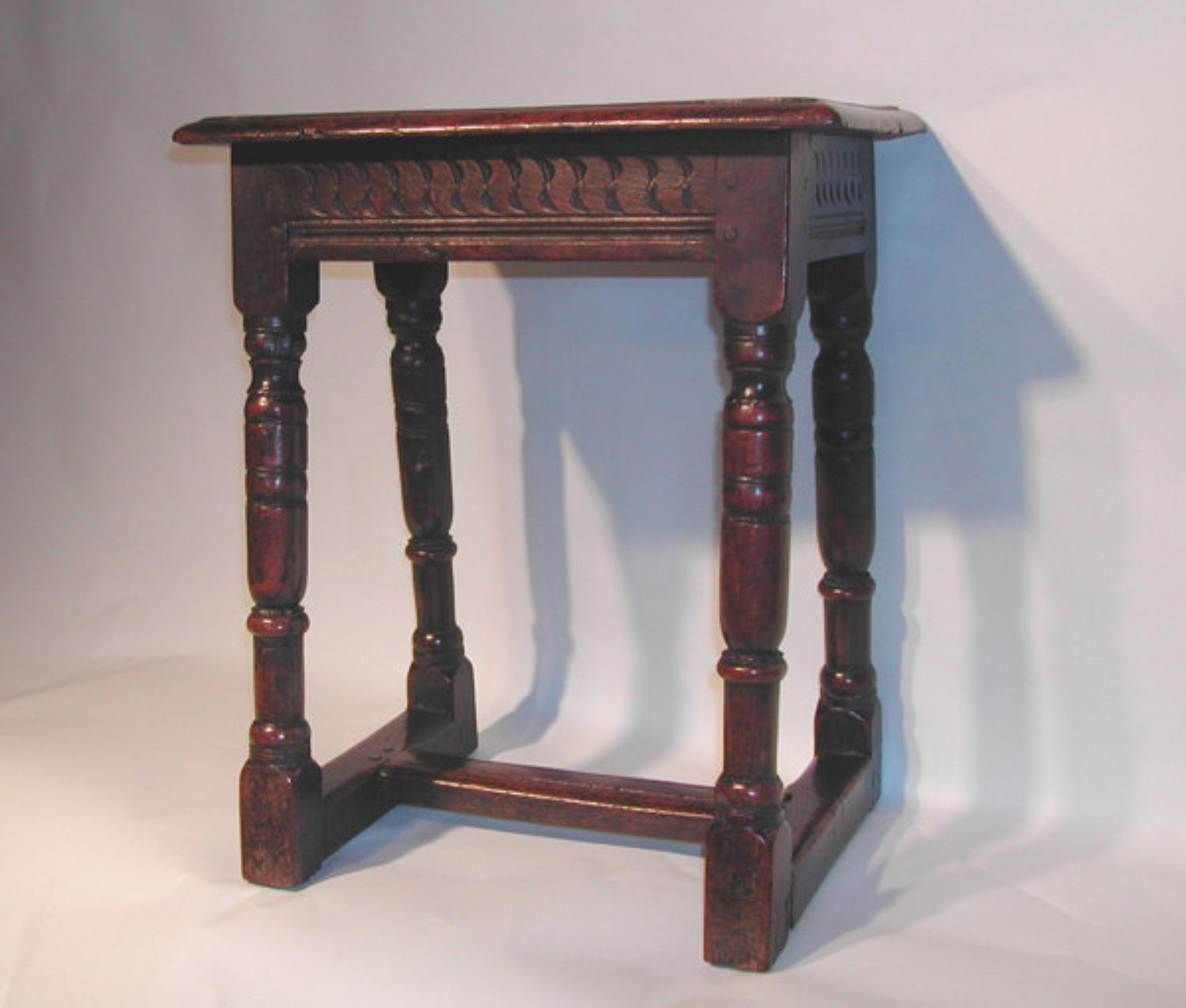 Rare 17thc Oak Joint Stool with centre stretcher.  English. C1630-40.