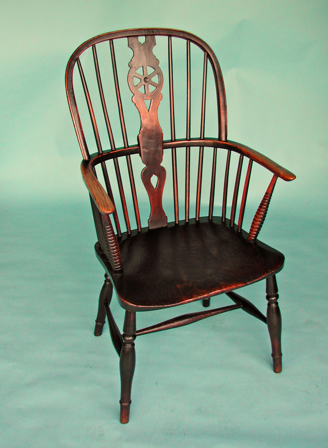 Early 19thc Ash, Elm and Fruitwood High Hoop Back Windsor Chair