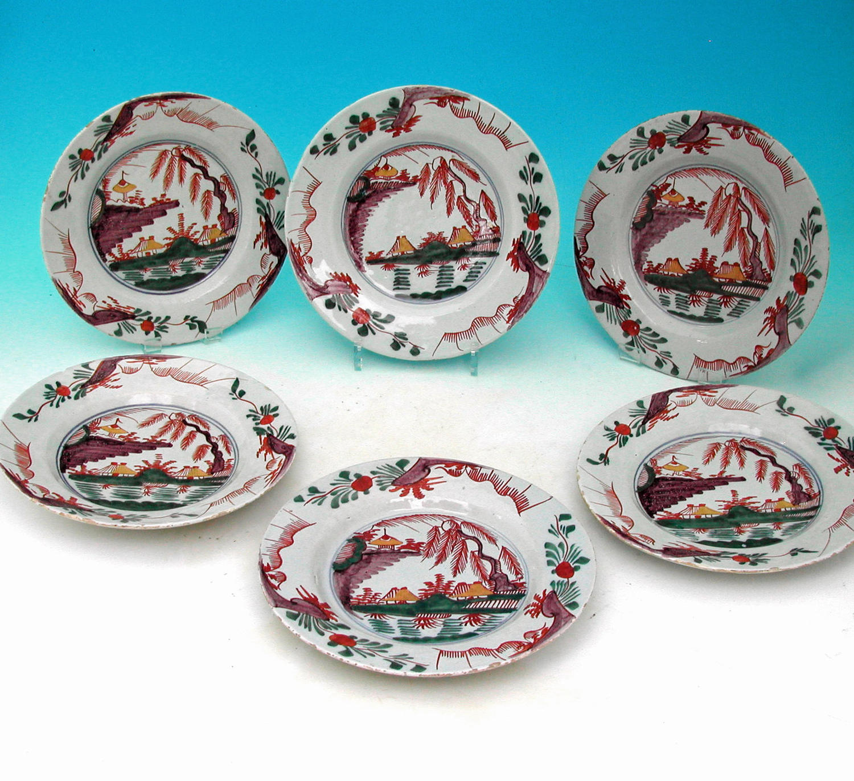 A Set of Six 18thc Polychrome Delft Plates.  Dutch. C1760-80