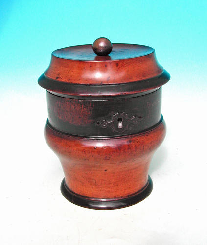 Antique 18thc Fruitwood Treen Tea Caddy.  Dutch.  C1760-80.