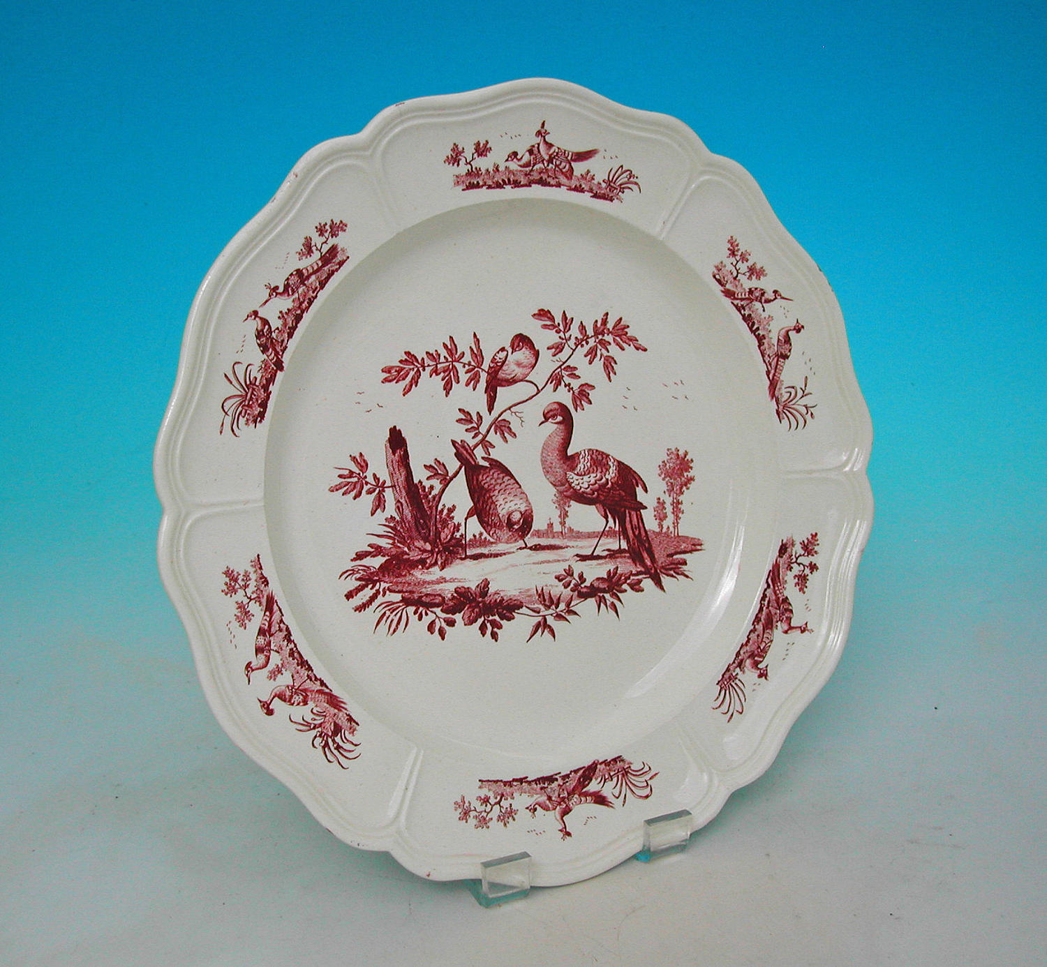 18thc Pottery Creamware Peacock Decorated Plate.  English. C1770-90