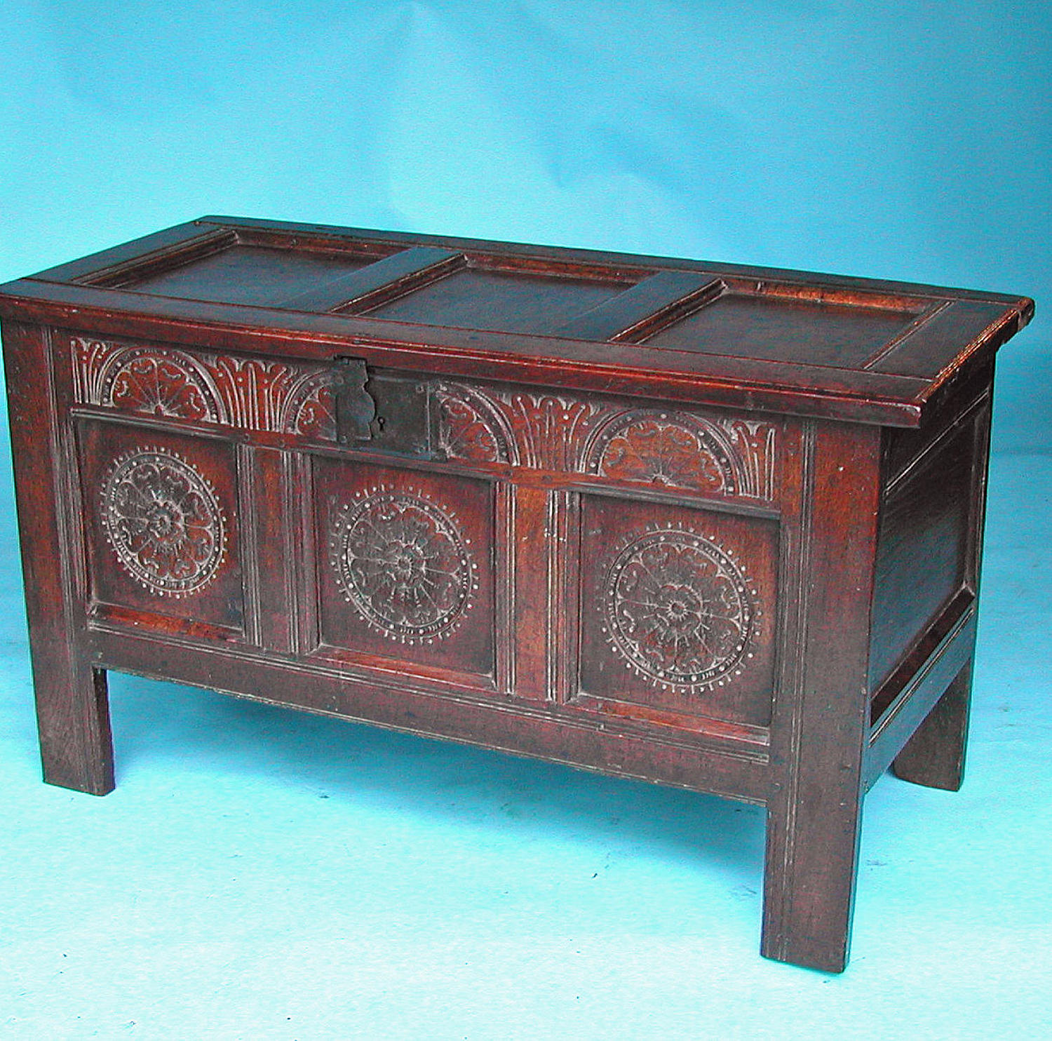 17thc Period Oak Joyned Coffer with Floral Carving.English. C1620-40