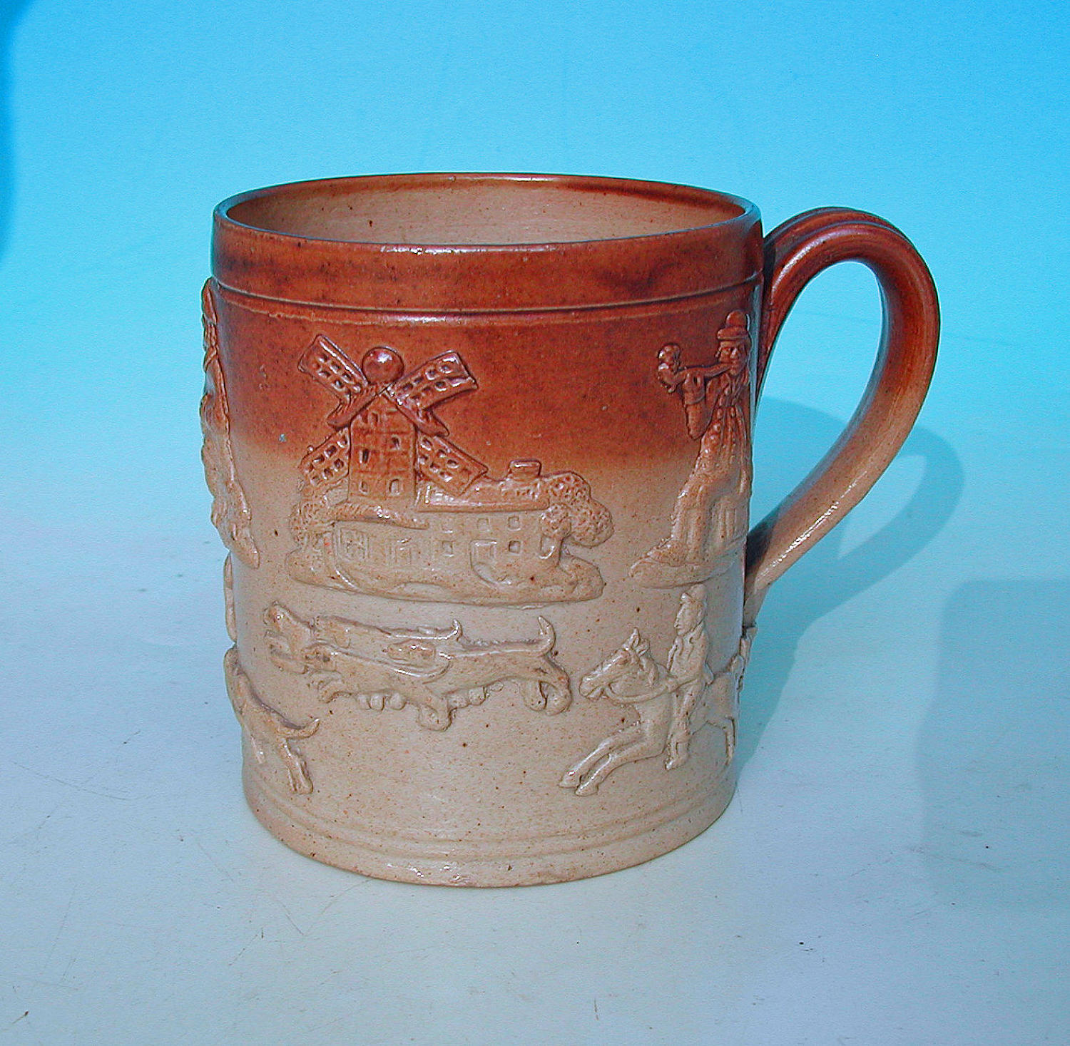 Antique Pottery 19thc Salt Glazed Lambeth Stoneware Mug. English. C184