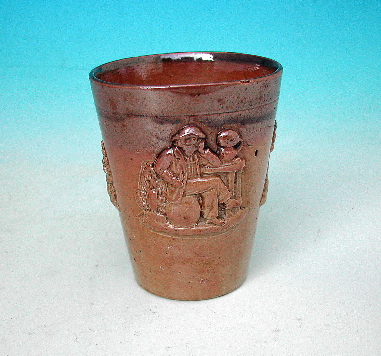 Antique Pottery 19thc Salt Glazed Lambeth Beaker. English. C1840-60