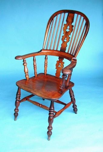 Antique 19thc Ash & Elm  Broad Arm Windsor Chair. English. C1840-60