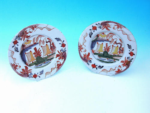 Antique Pair Of 18thc Polychrome Delftware Plates