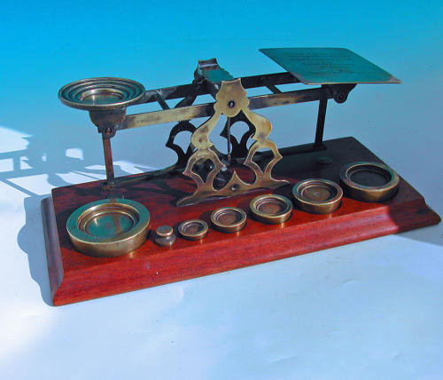 Antique 19thc Mordan Brass Postal Scales stamped India & Commonwealth