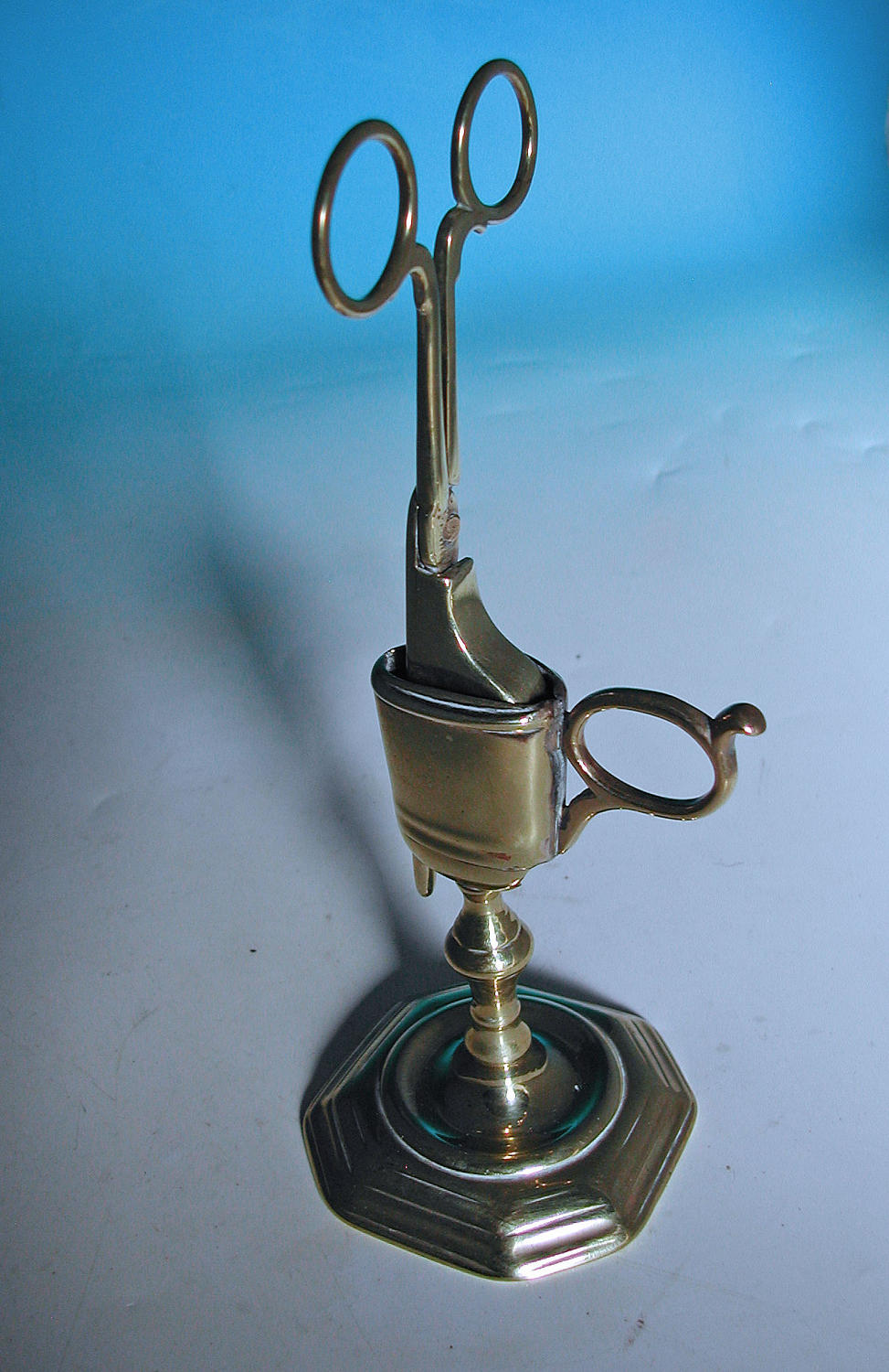 Antique 18thc Brass Candle Snuffer & Holder. English.  C1720-30.