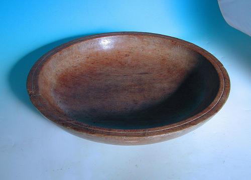 Antique Treen 19thc Beech Dairy Bowl. English C1840-60