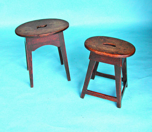 Two 18thc English Country Furniture Oak Stools.  English. C1780-90.