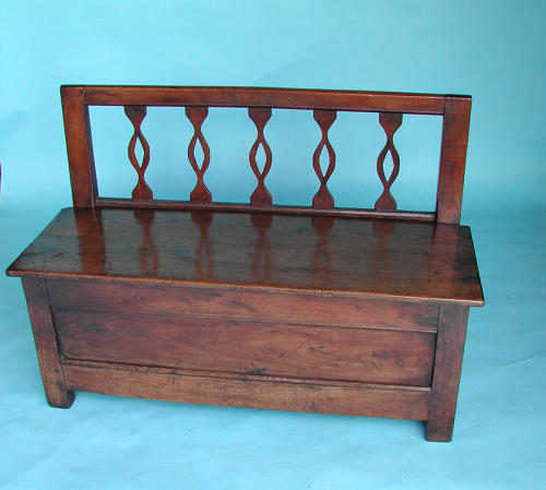 19thc Country Furniture Fruitwood Small Box Settle. French. C1800-20.