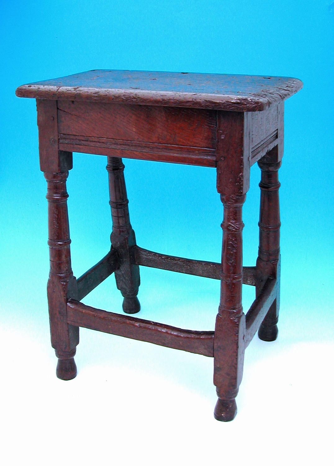 Early English Furniture 17thc Oak Joyned Stool. C1620-40.