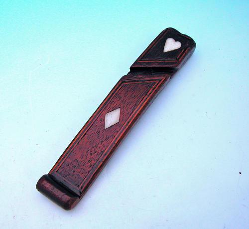 Antique 19thc Mahogany Inlaid Knitting Sheath. English C1840-60.