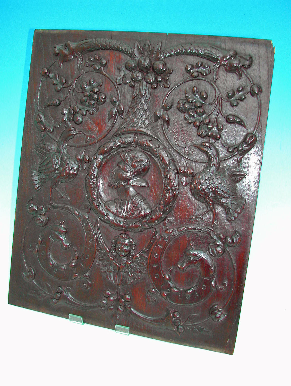 Superb 16thc Walnut Carved Romayne Panel.  French C1560-80.
