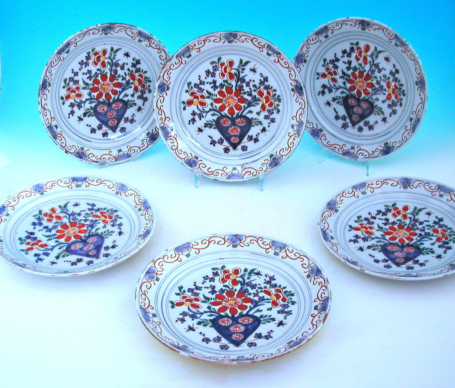 A True Set Of Six 18thc Polychrome Delftware Plates. Dutch. C1740-60