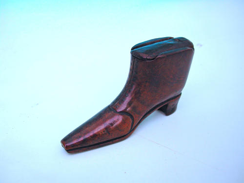 Antique Treen 19thc Walnut Snuff Shoe with Pique Decoration. English.