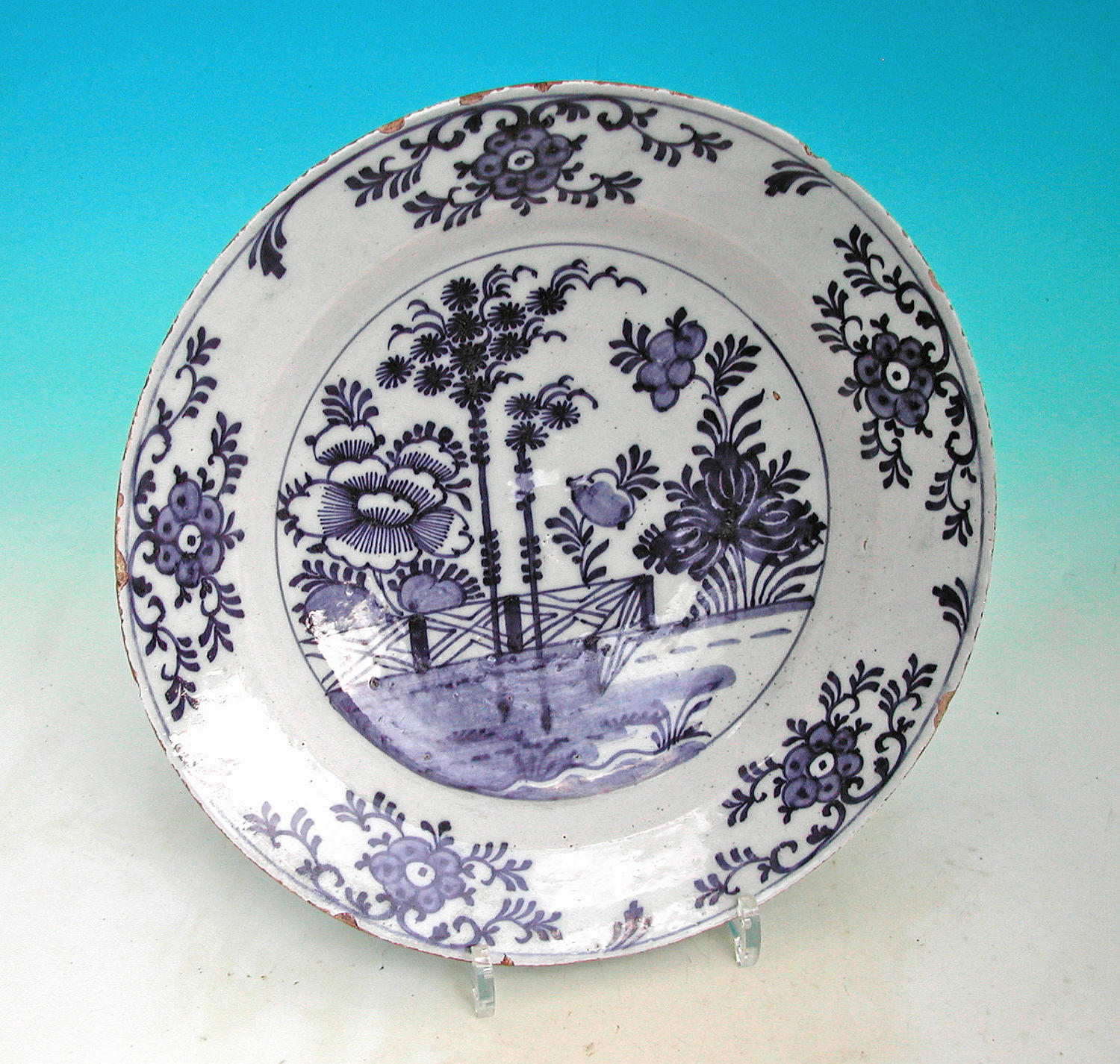 A nicely decorated Blue & White Delftware Plate.  Dutch. C1760-80.