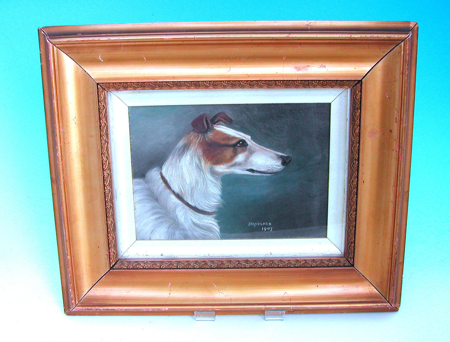 19thc Oil Painting Of A Lurcher On A Board By J.M.Hughes dated 1907.