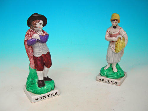 A Pair Of Early 19thc Staffordshire Figures Of Autumn & Winter.  C1820