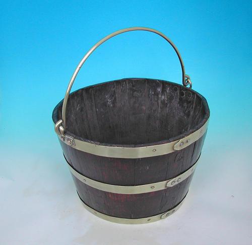 Early 19thc Oak & Brass Coopered Peat Bucket.  English. C1820-40.