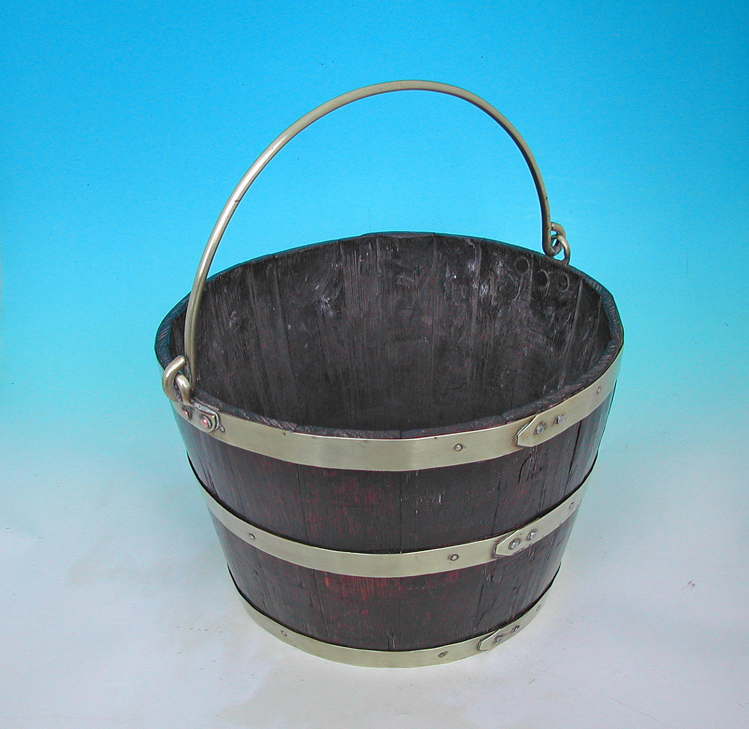 Early 19thc Oak & Brass Coopered Peat Bucket.  English. C1820-40.