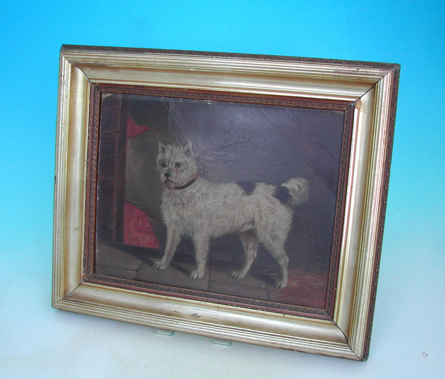 Antique 19thc Oil Painting Of A Terrier On Board.  English. C1860-80.