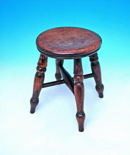Antique 19thc Turned Ash & Elm Childs Stool. English. C1860-80