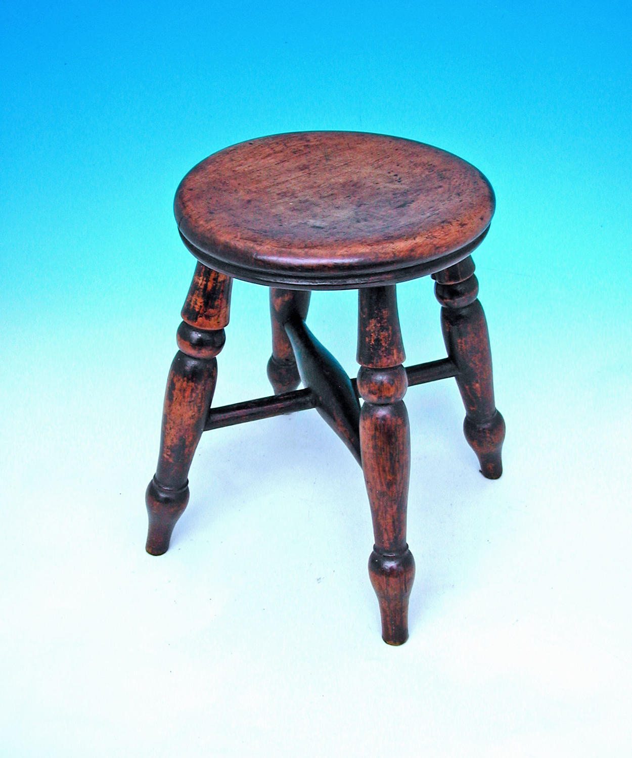 Antique 19thc Turned Ash & Elm Childs Stool. English. C1860-80